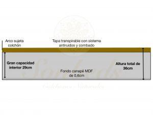Canape abatible Mancor esquema transversal