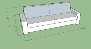Esquema de sofá cama doble de 90cm